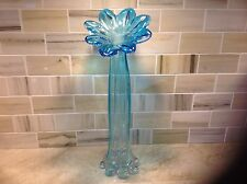 Murano Fluted ribbed bud vase in shades of blue