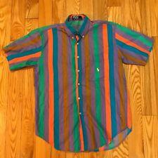 Vintage Polo Ralph Lauren Multi Color Striped Button Up Shirt Rainbow LGBQT