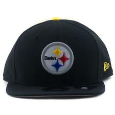 Pittsburgh Steelers New Era NFL 9Fifty Flat Brim Baseball Hat In Black