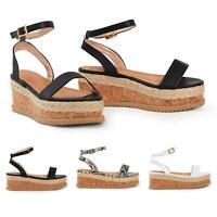 Shelikes Womens Ladies Espadrille Flatform Sandals Ankle Buckle Shoes