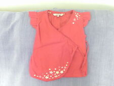 Girls 6 Yrs- Red Linen Blend Wrap Top with Floral Embroidery - John Rocha