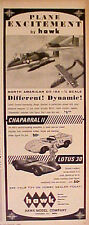 1966 Hawk Chaparral Ii Airplane~Lotus Slot Cars Racing~Model Kits Toy Trade Ad