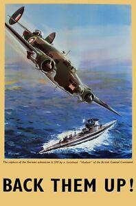 WB67 Vintage Back Them Up RAF British WW2 World War II Poster Print A2/A3/A4