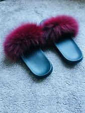 Brand New Real Fox Fur Sliders, Unique Red Wine to fit sizes 5-7 UK