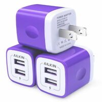 3Pcs Wall Charger 5V/2.1Amp Ailkin 2-Port Usb Wall Charger Home Travel US Plug