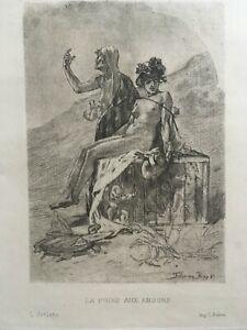 """FÉLICIEN ROPS """"La Foire aux amours"""" Original Etching 1880 Symbolism"""
