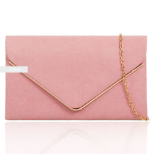 Dusky Pink Plain Suede Wedding Ladies Prom Evening Clutch Hand Bag Purse HandBag