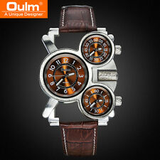 Leather Brand Army Wristwatches OULM Men's Sports Watches Quartz 3 Movements