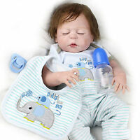 "Full Body Silicone Vinyl Bebe Reborn Baby Boy Doll Lifelike 22"" Newborn Toy Gift"