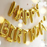 "LARGE Self Inflating Happy Birthday Banner Balloon Bunting GOLD 16"" Letters Foil"