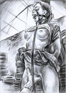 BDSM, Pencil, Original Erotic Drawing by Gosha. A4,
