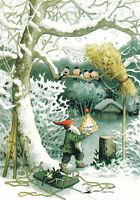 Postkarte: Inge Löök - Zwerg füttert Vögel im Schnee  / Nr. 217
