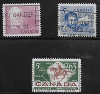 Canada Scott #410 & 412-13, Singles 1963 Complete Set FVF Used