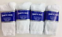 12 Pair White Cotton Diabetic Crew Socks Size 9-11 Proudly Made In The USA!!!