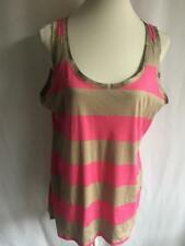 M&S Women's beige and pink top size UK18 EU46 US14 Striped (47)