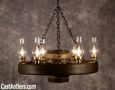 """30"""" Reproduction Wagon Wheel Chandelier Light - Antler Made in USA"""