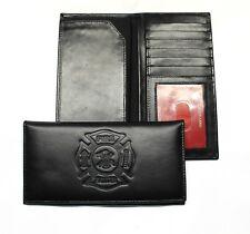 Fire Fighter Leather Rodeo Wallet / Roper Wallet ID WIndow Long Wallet - Black