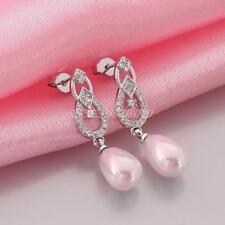 New Handmade White Sea South Sea Shell Pearl 925 Silver Drop/Dangle Earrings