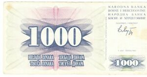 Bosnia and Herzegovina one thousand dinara 1992 circulated