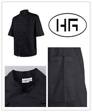 Chef Jacket Short Sleeves Classic Black Uniform Poly-cotton Hospitality Garments
