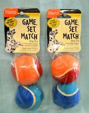 2X Lot = 4 Balls Total HARTZ Dog TOY Rubber Tennis BALLS Play Blue Red ORANGE