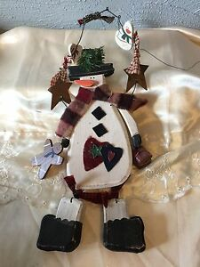 """WOODEN SNOWMAN primitive COUNTRY ~ 16"""" tall ~ wall door hanging CHRISTMAS new"""