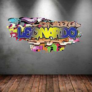 FULL COLOUR PERSONALISED 3D GRAFFITI NAME CRACKED WALL ART STICKER DECAL GRAPHIC
