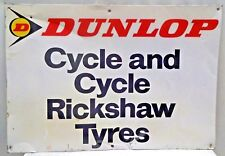 DUNLOP TIRE ADVERTISE SIGN VINTAGE TIN CYCLE AND CYCLE RICKSHAW TYRE COLLECTIB#5