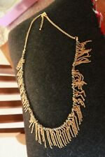 One Strand necklace Gold colour beads & chain adjustable length max 22 inch