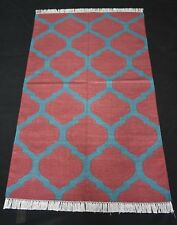 Kilim Area Rug 3x5 Feet Modern Grid Bedroom Cotton Carpet