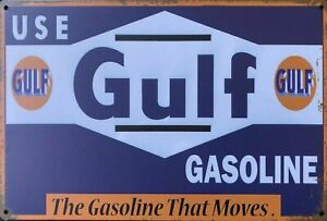 GULF Rustic Metal Tin Sign. Vintage Rustic Garage, & Man Cave