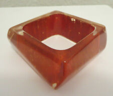 VINTAGE BEAUTIFUL HUGE CHUNKY SQUARE CUT Painted LUCITE BANGLE