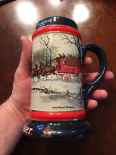 Budweiser Clydesdales Stein Holiday 1990 Christmas Beer Wagon-Nice!