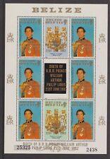 1981 Royal Wedding Diana MNH Stamp Sheet Belize William Birth Opt 1982 2438