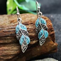 Trendy Silver Opal Gemstone Ear Hook Dangle Drop Earrings Wedding Jewelry Women