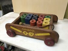 Vintage PLAYSKOOL Wooden Wagon Pull Toy with Wood Blocks Shapes