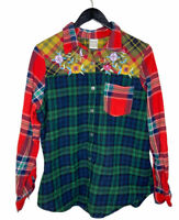 Women's Large Mixed Plaid Flannel Short Floral Embroidered Cotton Button Down