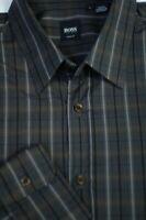 Hugo Boss Men's Black Gray Brown Check Cotton Casual Shirt L Large