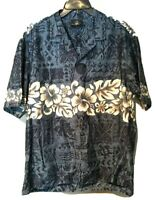 Royal Creations Hawaiian Shirt Sz XL Hawaii Blue Tiki Turtles Floral-100% Cotton