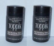 2 x Toppik Hair Building Fibers Travel Size 0.11 oz / 3g (Dark Brown)  x 2