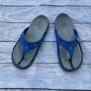 crocs blue flip flops boys y 1
