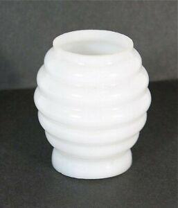 1890s MINIATURE BEEHIVE CIGAR LIGHTER / LITTLE BEAUTY OIL LAMP MILK GLASS SHADE