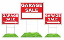 Garage Sale Sign Kit (Red) - 3 Signs with Steel H Stakes