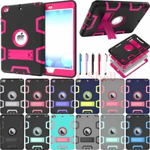 For iPad 6th 5th Generation/Mini/Air/Pro Shockproof Rugged Hard Case Cover Stand