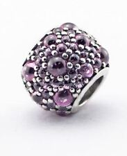 LIGHT PINK CRYSTAL DROPLET .925 Sterling Silver European Charm Bead - CR3