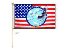 5' Wood Flag Pole Kit Wall Mount Bracket 3x5 Usa Wings Over America Poly Flag
