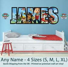 Personalised Name Wall Stickers/Decals Paw Patrol Childrens Boys Girls Nursery