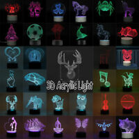 3D Acrylic LED Night Light 7 Colors Changing USB Touch Lamp Christmas Decor Gift