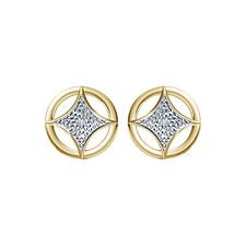 18kt Gold Micro Plated 925 Silver White Real Diamond Lovely Stud Earring
