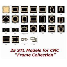 "25 3d STL Models - "" Frame Collection "" for CNC relief artcam 3d printer aspire"